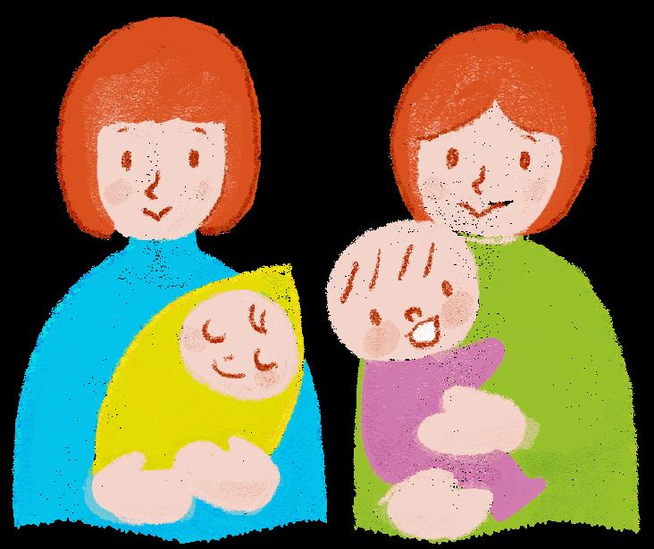 子育て中の親子(イラスト)